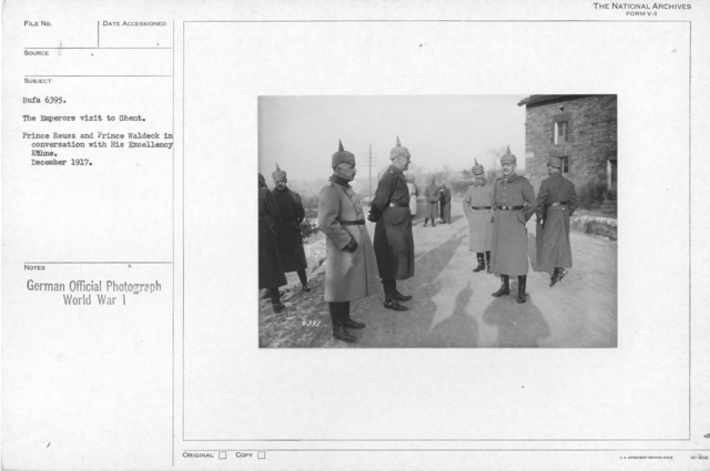 The Emperors visit th Ghent. Prince Reusz and Prince Waldeck in conversation with his Excellency Kuhne. December 1917
