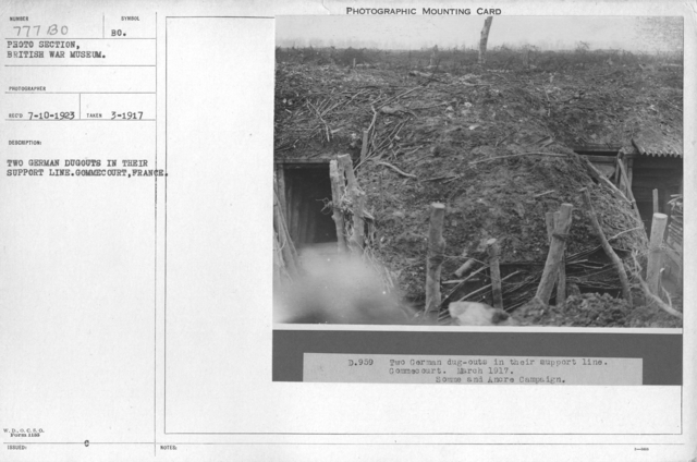 The German dugouts in their support line. Gommecourt, France. March 1917