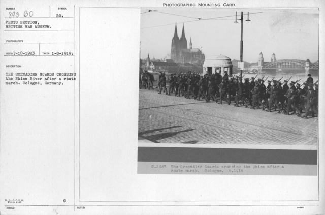 The Grenadier guards crossing the Rhine River after a route march. Cologne, Germany. 1-8-1919