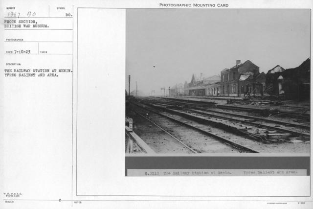 The railway station at Menin. Ypres Salient and area