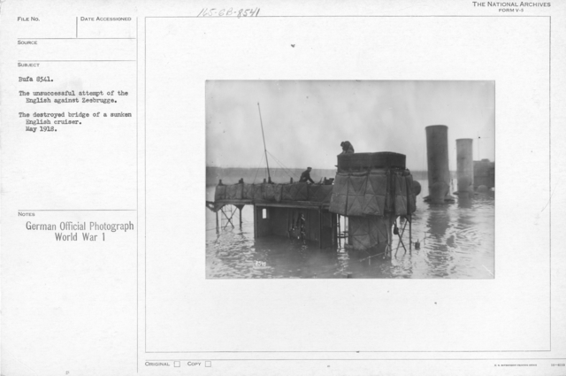The unsuccessful attempt of the English against Zeebrugge. The destroyed bridge of a sunken English cruiser. May 1918