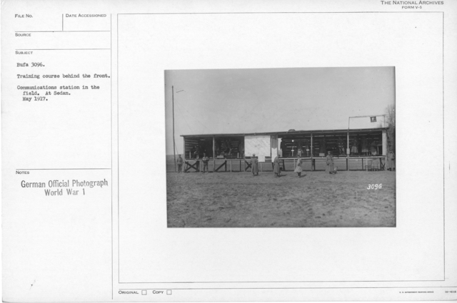 Training course behind the front. Communications station in the field. At Sedan. May 1917