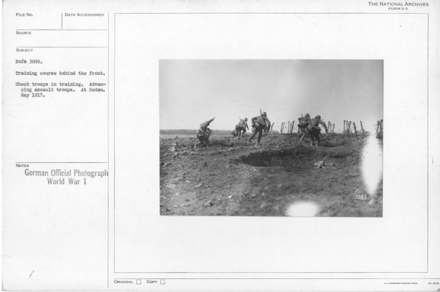 Training course behind the front. Shock troops in training. Advancing assault troops. At Sedan. May 1917