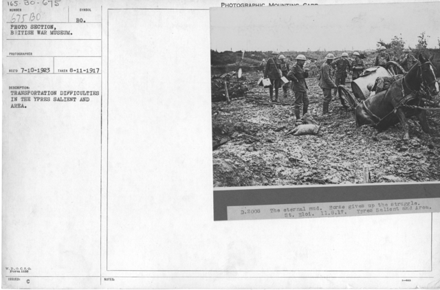 Transportation difficulties in the Ypres salient and Area. 8-11-1917