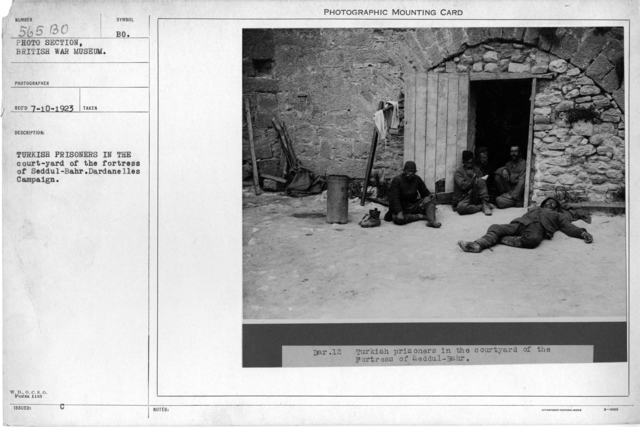 Turkish prisoners in the court-yard of the fortress of Seddul-Bahr. Dardanelles Campaign