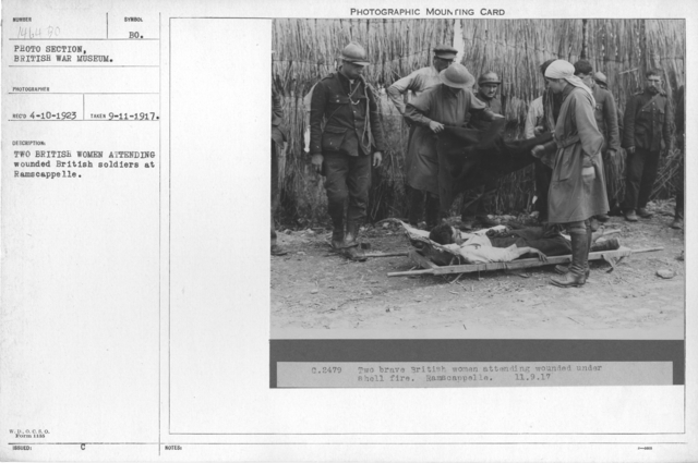 Two British women attending wounded British soldiers at Ramscappelle