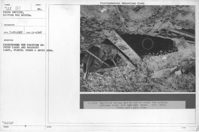 Underground gun position between Hamel and Beaumont Hamel, France. Somme & Ancre Area. November 1916