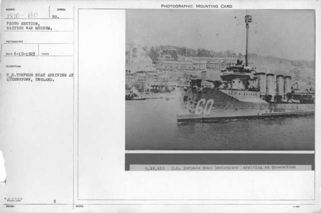U.S. Torpedo boat arriving at Queenstown, England