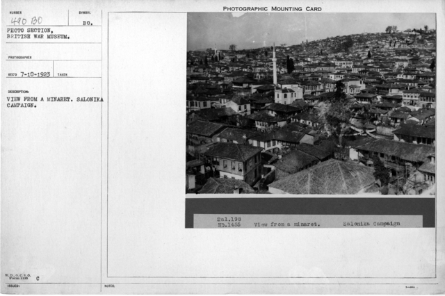 View from a minaret. Salonika Campaign