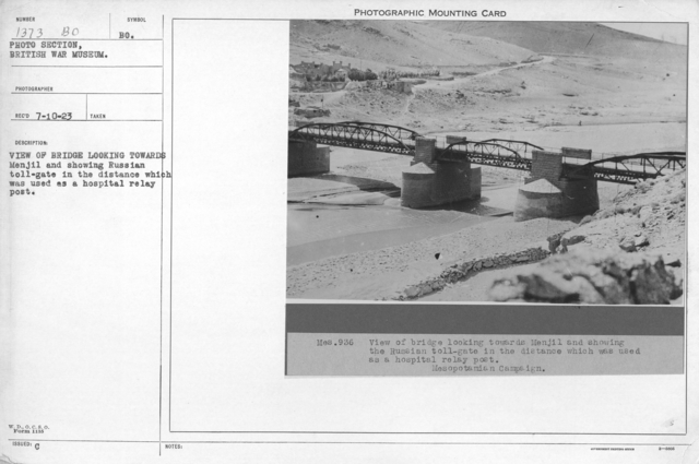 View of bridge looking towards Menjil and showing Russian toll-gate in the distance which was used as a hospital relay post