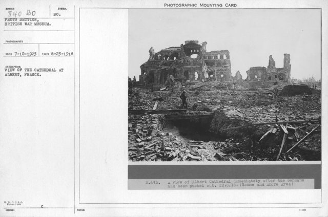 View of the Cathedral at Albert, France. 8-23-1918