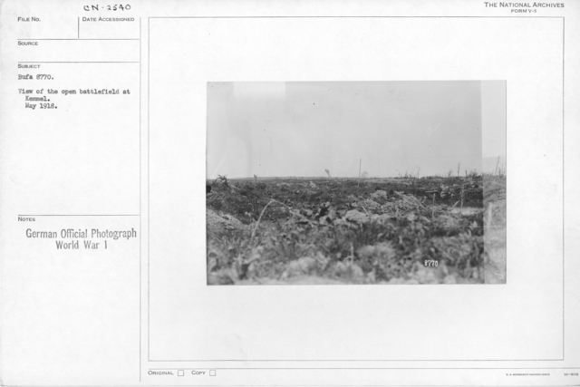 View of the open battlefield at kemmel. May 1918