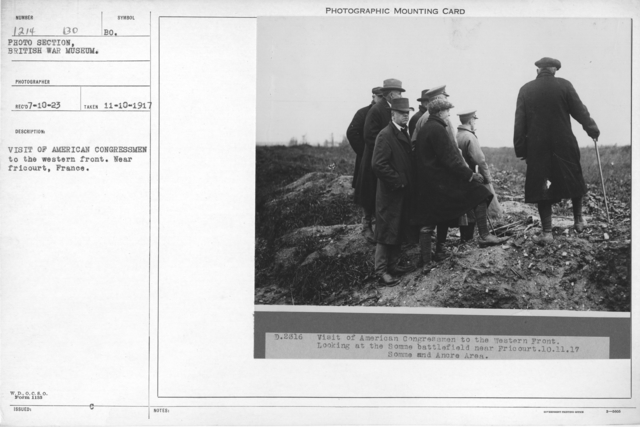 Visit of American congressmen to the western front. Near Fricourt, France. 11-10-1917