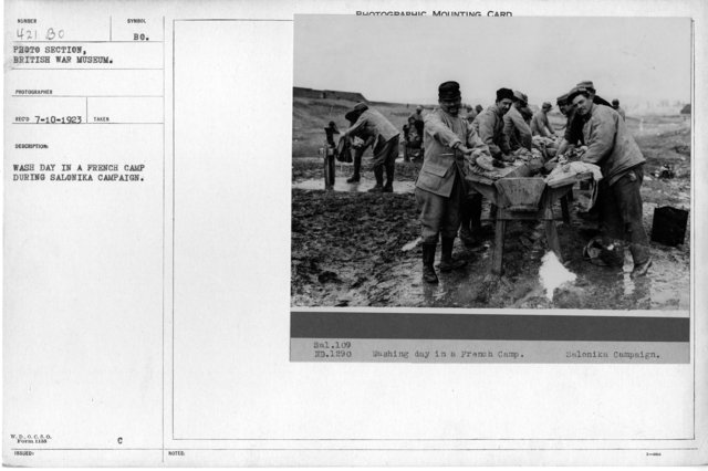 Wash day in a French camp during Salonika Campaign