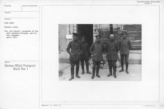 Western front. Col. Von Dassal , Commander of the 49th Infantry Bridge, and Lt. Col. Gegenger. April 1917