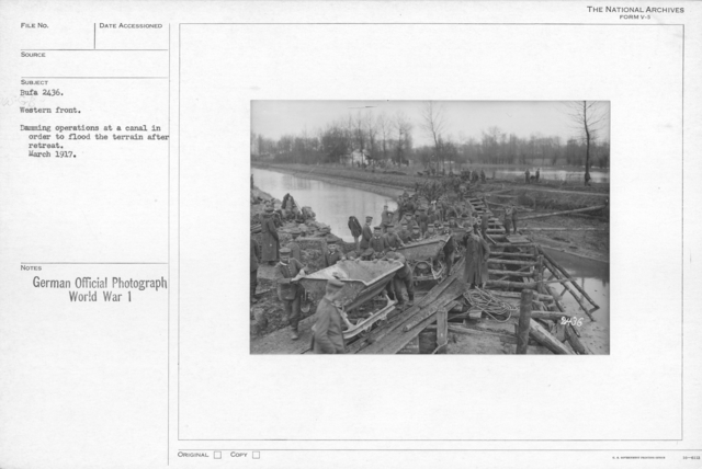 Western Front. Damming operations at a canal in order th flood the terrain after retreat. March 1917