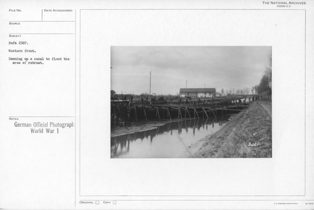 Western front. Damming up a canal to flood the area of retreat