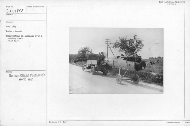 Western front. Transporting an ariplabe over a country road. July 1917