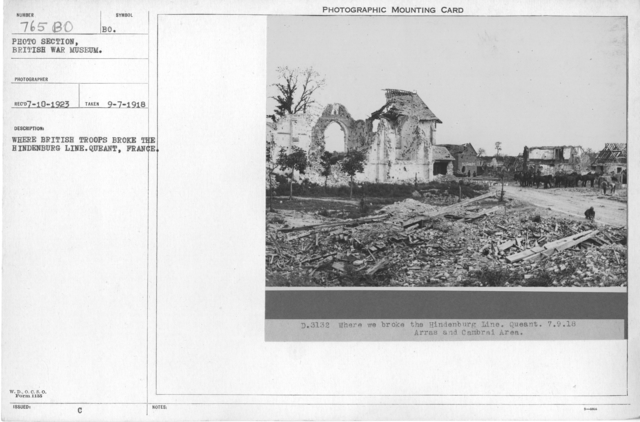 Where British troops broke the Hindenburg line. Queant, France. Arras and Cambrai Area. 9-7-1918