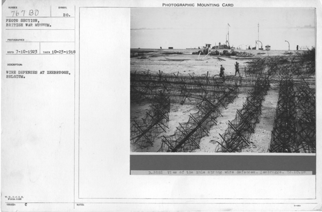 Wire defenses at Zeebrugge, Belgium. 10-23-1918