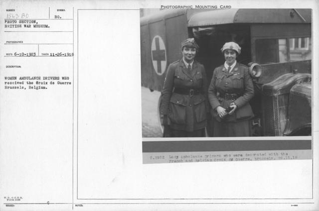 Women ambulance drivers who received the Croix de Guerre Brussels, Belgium. 11-26-1918