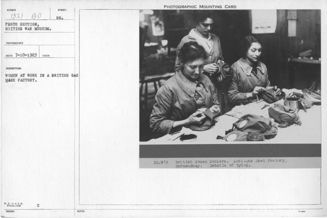 Women at work in a British gas mask factory,