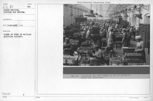 Women at work in British munition factory