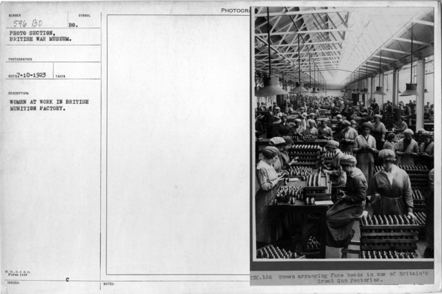 Women at work in British munition factory
