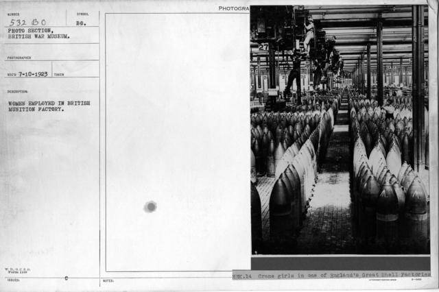 Women employed in British munition factory