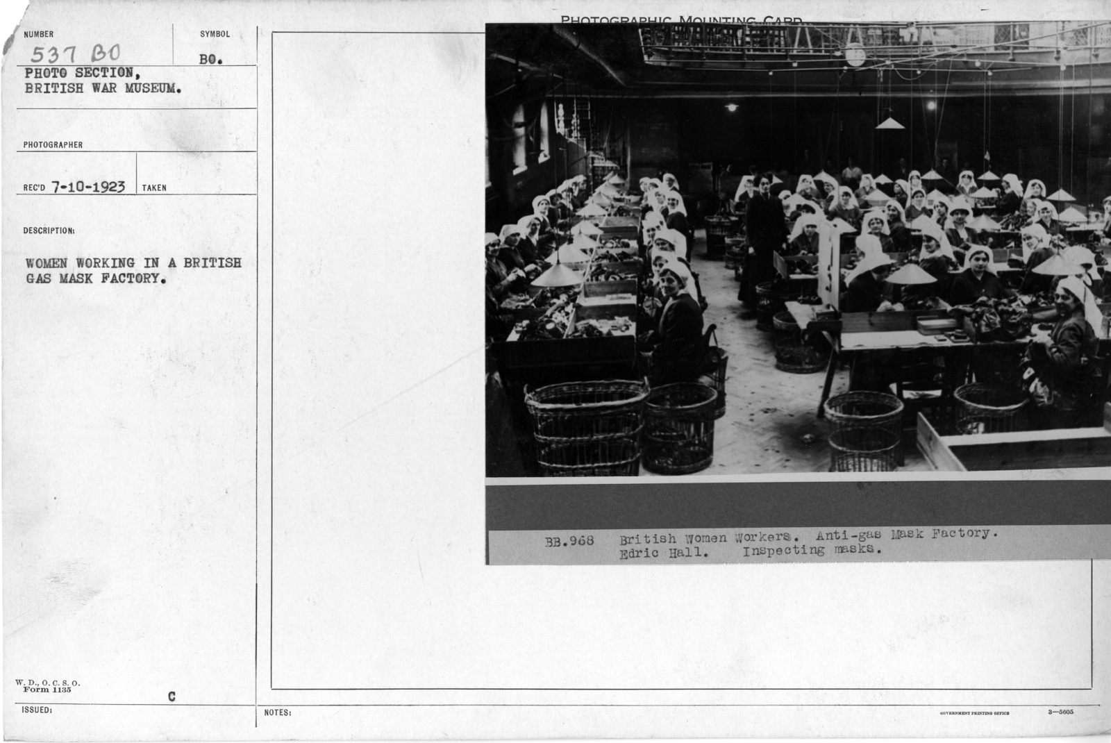 Women working in a British gas mask factory