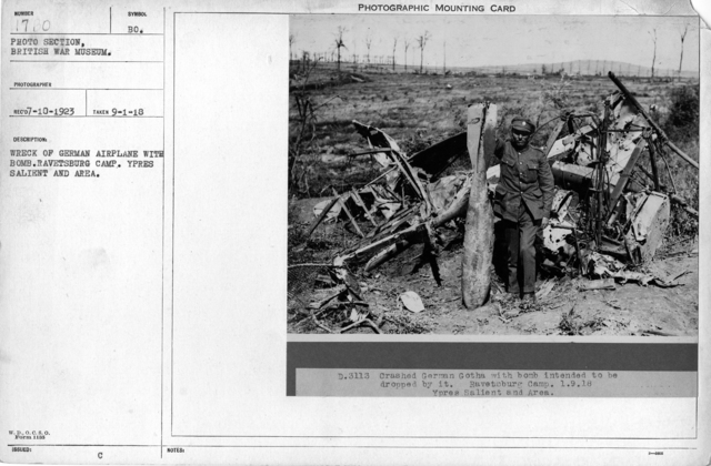 Wreck of German airplane with bomb. Ravetsburg Camp. Ypres Salient and area