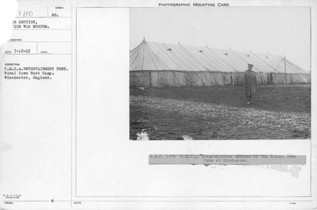 Y.M.C.A. entertainment tent. Winal Down Rest Camp. Whinchester, England