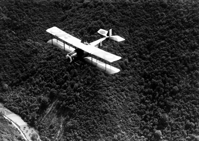 An air-to-air view of the Salmson observation aircraft