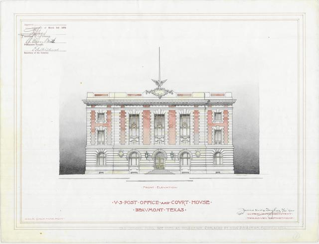 Presentation Drawing of Beaumont TX Court House and Post Office