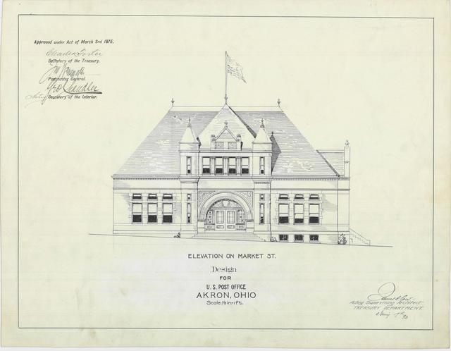 Presentation Drawing of the Akron OH Post Office