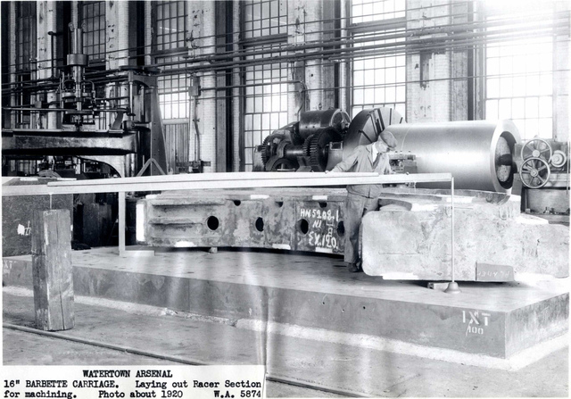 """#5874 16"""" Barbette Carriage, Laying Out Racer Section for Machining"""