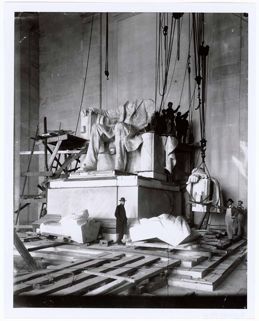 Photograph of the Abraham Lincoln Statue Installation in the Lincoln Memorial, Washington, D.C.