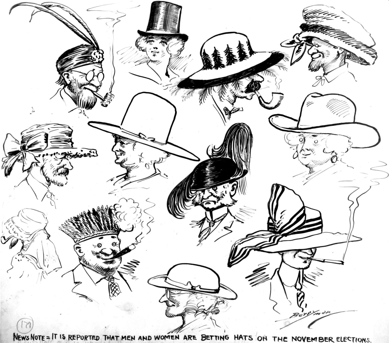 News Note:  It is reported that men and women are betting hats at the November elections