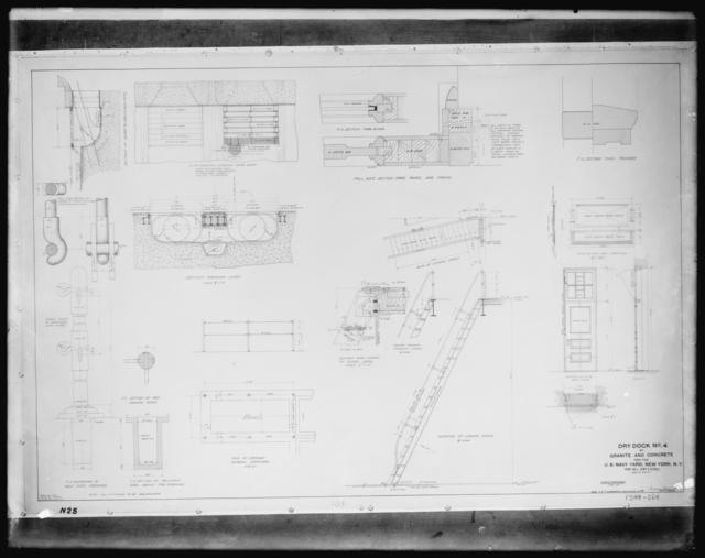 Dry Dock Number 4, Granite and Concrete for the U.S. Navy Yard, New York, New York, Pump Well Sump and Details, Scales as Indicated