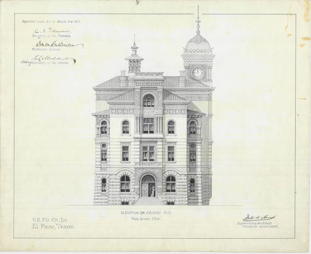 Presentation Drawings of the El Paso TX Court House and Post Office