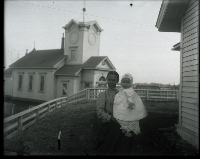 Women With Child And St Paul Church In Background