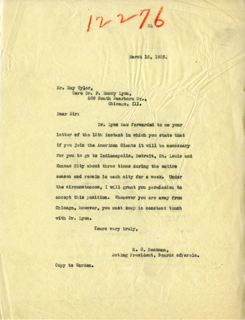 Letter Written by H. C. Heckman to Roy Tyler Concerning Permission to Play Baseball for the American Giants