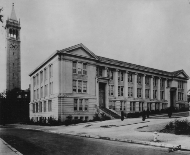 Le Conte Hall, University of California, Berkeley. View of the east facade with Bacon Hall and the Campanile in the background, taken in 1926.  Principal Investigator/Project: Analog Conversion Project