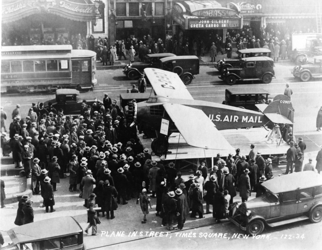 Photograph of Air Mail Plane on Display in Times Square in New York City