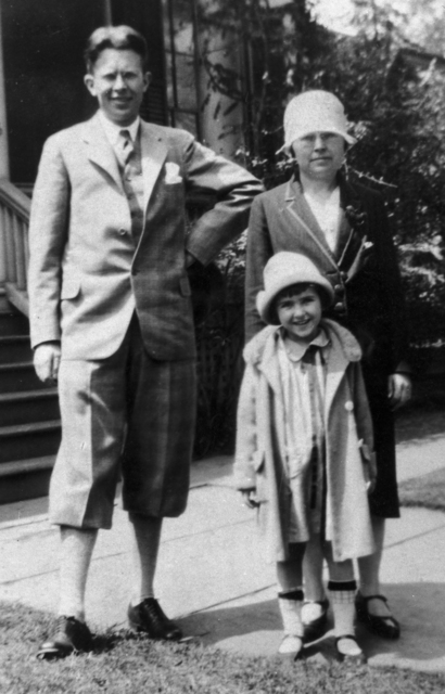 Ernest Orlando Lawrence, Mrs. Robert Birge, and Betty. (or Ann) Birge taken in May, 1927. See negative. Morgue 1958-8 (P-41) [Photographer: Donald Cooksey]