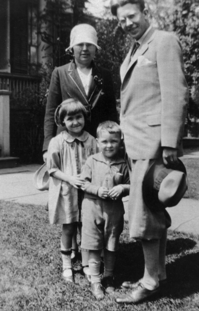 Ernest Orlando Lawrence, Mrs. Robert Birge, and children Betty. (or Ann) and Bob Birge taken in May, 1927. See negative Morgue 1958-8 (P-42) [Photographer: Donald Cooksey]