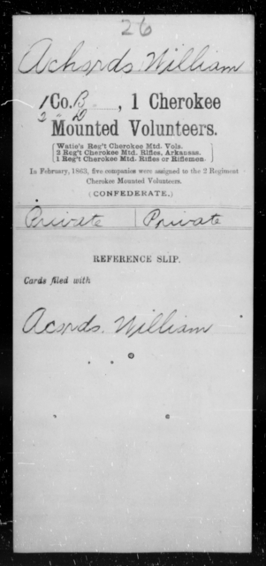 Achords, William - Age [Blank], Year: 1863 - First Cherokee Mounted Volunteers, A-K - Raised Directly by the Confederate Government