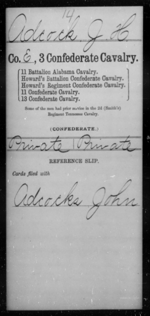 Adcock, J H - Age [Blank], Year: [Blank] - Third Confederate Cavalry, A-C - Raised Directly by the Confederate Government