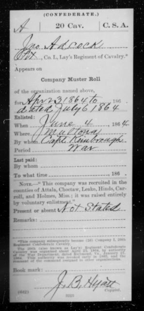 Adcock, John - Age [Blank], Year: 1864 - Twentieth Confederate Cavalry (Lay's Regiment), A-M - Raised Directly by the Confederate Government