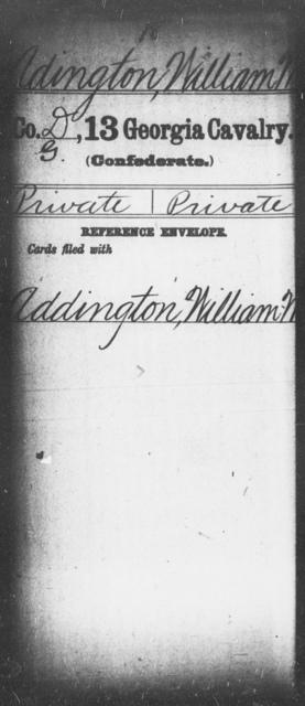 Adington, William W - 12th (Wright's) Cavalry (State Guards) AND 13th Cavalry